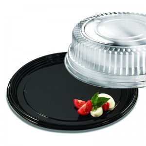 "Black Onyx 12"" Round Platter with Clear High Dome Lid"